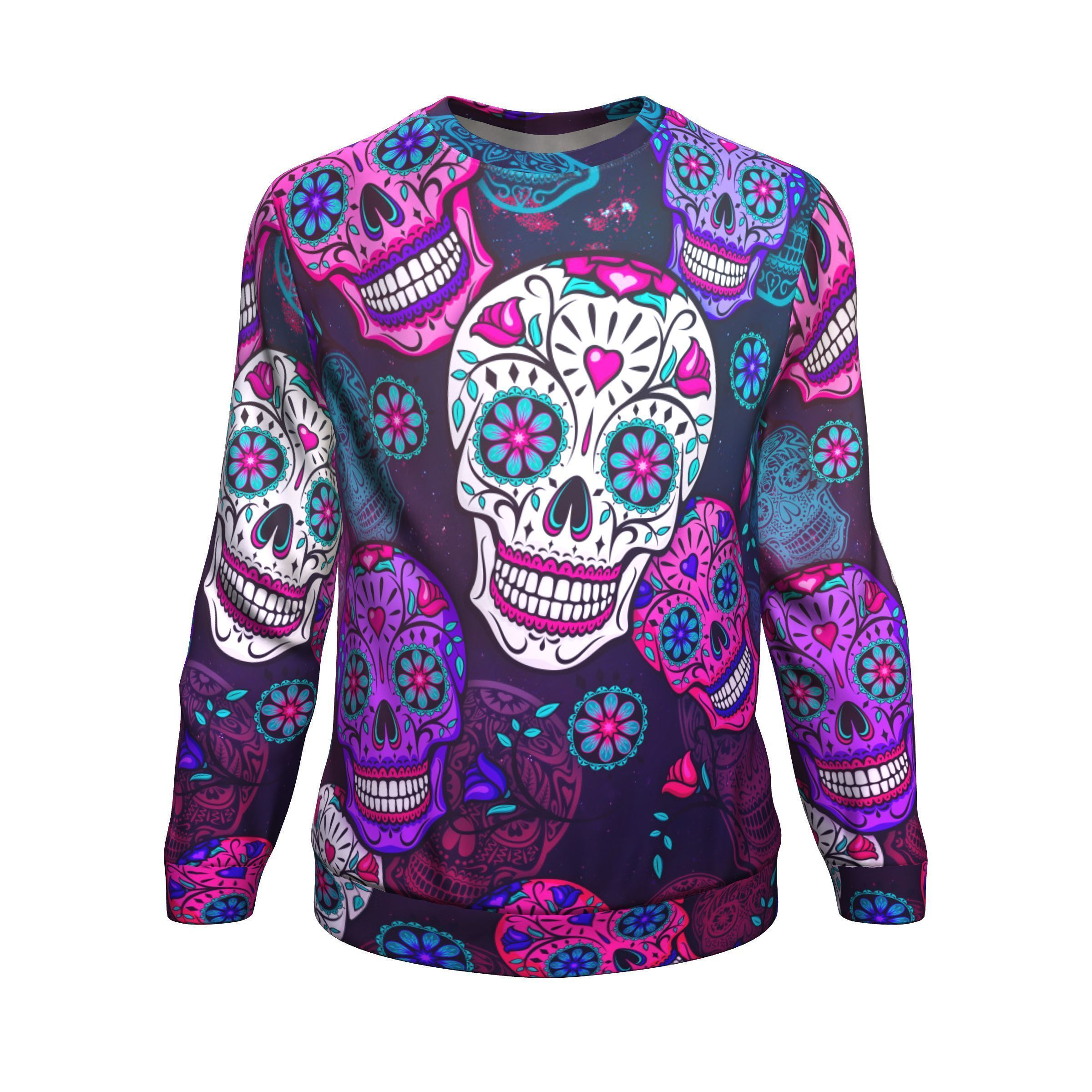 737779433 Calavera Colorful Sugar Skull Tradition All-Over Printed Sweater -  Potatotee Store