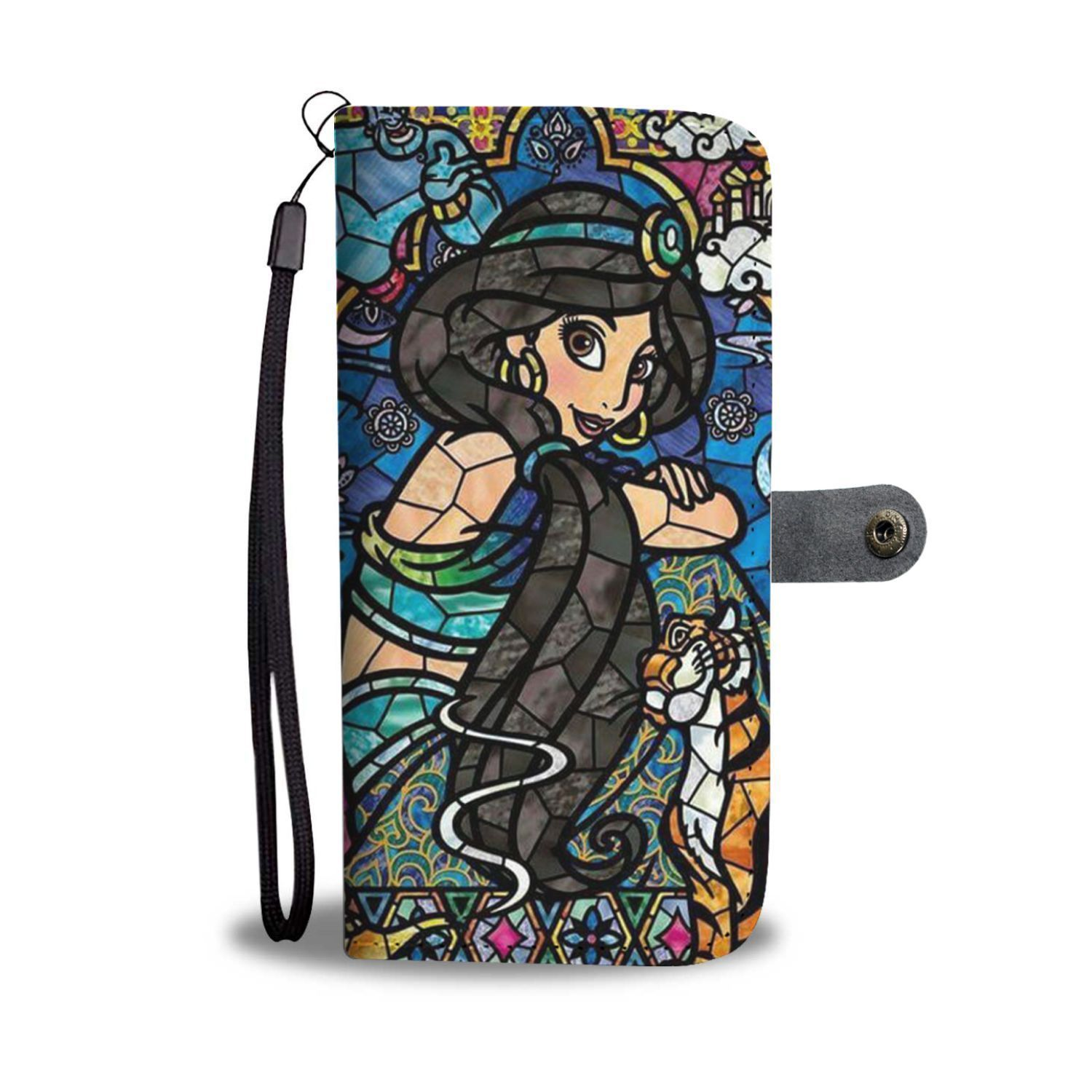 official photos c4cf8 778b6 Disney Princess Jasmine Stained Glass Pattern Wallet Phone Case