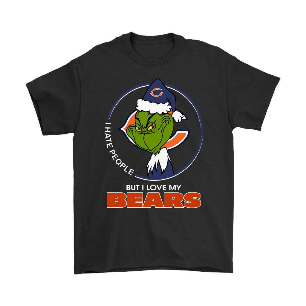 huge discount a4bdf c9548 I Hate People But I Love My Chicago Bears Grinch NFL Shirts