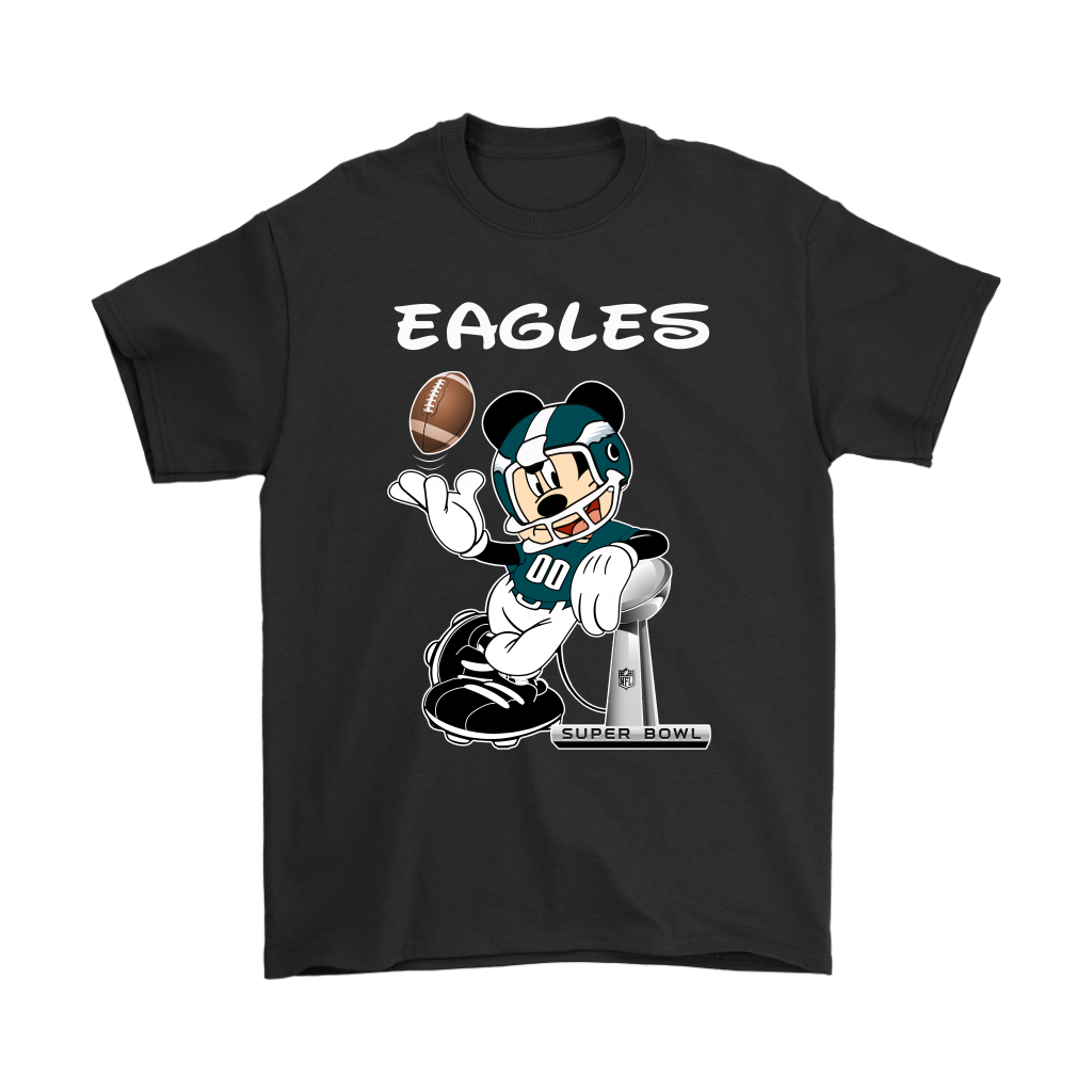 3d52994f Mickey Eagles Taking The Super Bowl Trophy Football Shirts - Teeqq Store