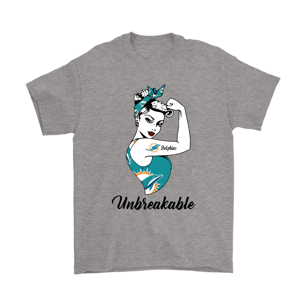 41ad5e56 Strong Miami Dolphins Unbreakable Strong Woman NFL Shirts