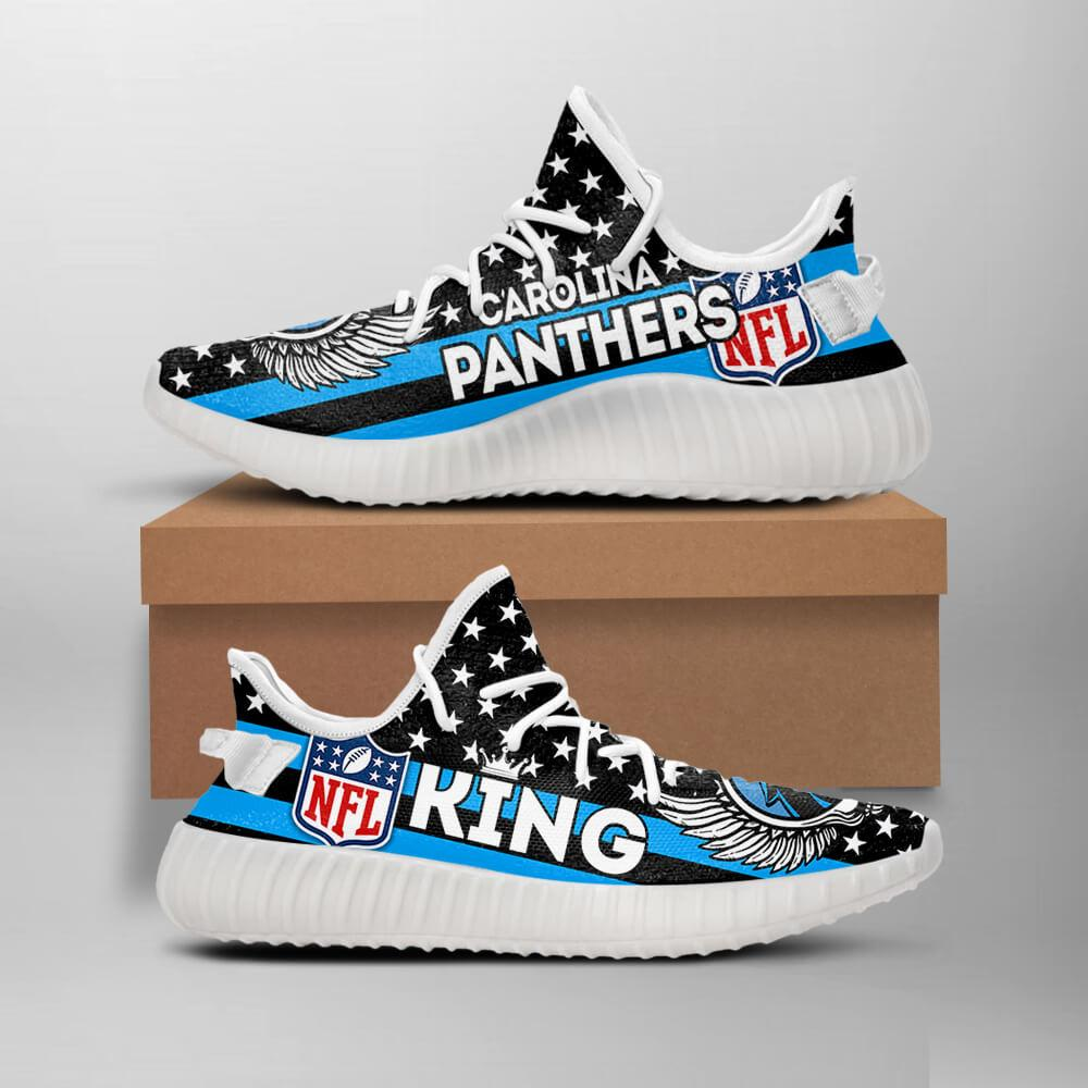 buy popular 3ecc3 1aa2a Carolina Panthers King NFL Like Yeezy Panthers Shoes